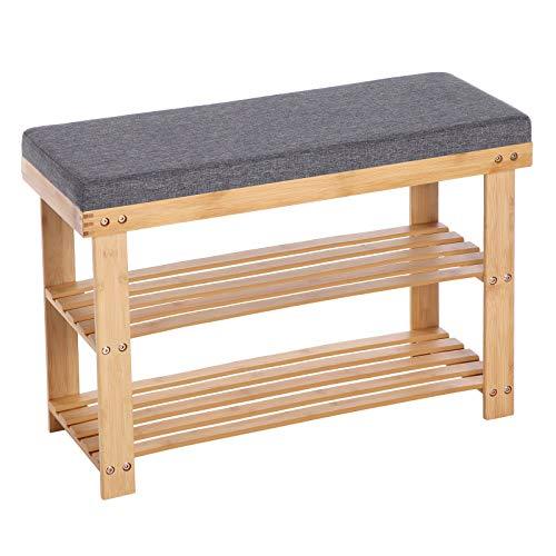 SONGMICS Schuhbank aus Bambus, Schuhregal mit 2 Regalebenen, Sitzbank, für Flur, Wohnzimmer, Sitzfläche bis 150 kg belastbar, 71 x 29 x 49 cm,...