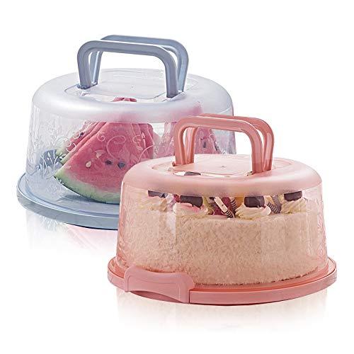 MHwan transportbox kuchen, tortenglocke, Runde tragbare tragbare Tortenschachtel mit Deckel Tragegriff für den Transport von Kuchen, Keksen, Kuchen, Torte,...