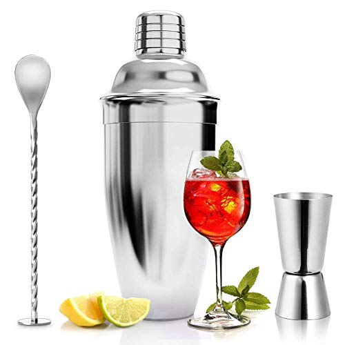 ASANMU Cocktailshaker Set, 750ML Cocktail Shaker Edelstahl Professioneller Cocktailmixer Bar Cocktailset Kit mit Messbecher und Barlöffel, Premium Bar Shaker...