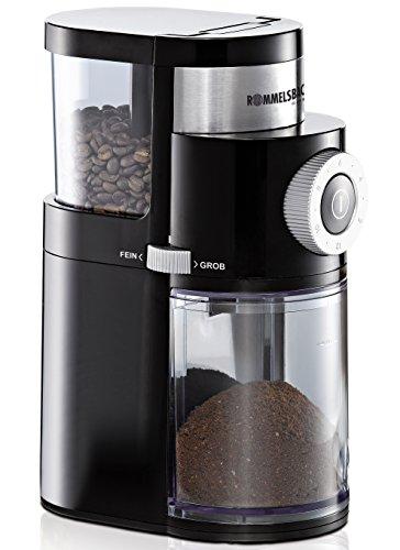 ROMMELSBACHER Kaffeemühle EKM 200 – aromaschonendes Scheibenmahlwerk, Mahlgrad einstellbar von grob bis extra fein, 2-12 Portionen, Füllmenge...