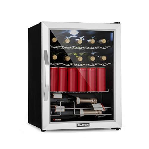 Klarstein Beersafe - Minibar, Mini-Kühlschrank, Getränkekühlschrank, leise, 42 dB, Edelstahl, Glastür, 5-stufiger Temperaturregler, 4 Einschübe, 60 Liter,...