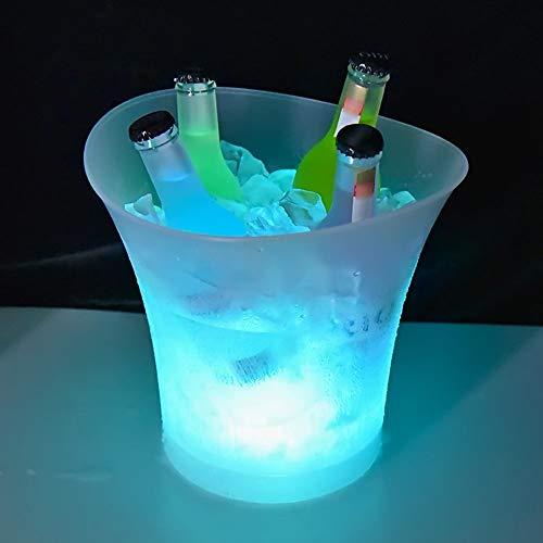 Ritioner Eiskübel Getränkekühler Bierkastenkühler Flaschenkühler 5L mit LED Licht Lampe, Automatische Farbwechsel, IP65 Wasserdicht für Gartenparty...