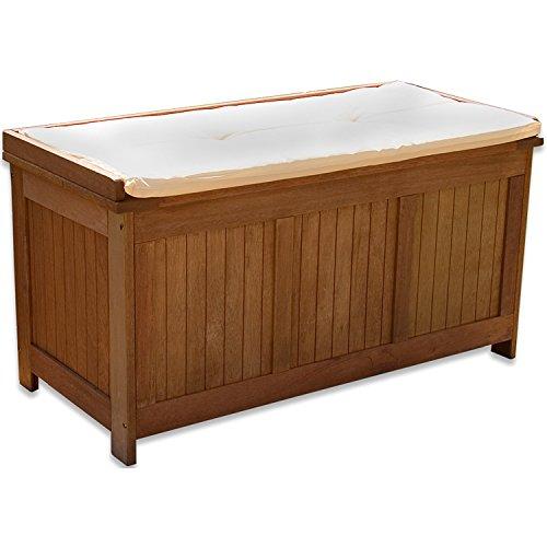 STILISTA® Gartenbank Gartenbox 219 L aus 100% Shorea-Hartholz, geölt, Liftautomatik, Gartentruhe inkl. Kissen in Farbe Natur, 113 x 52,5 x 60,5 cm,...