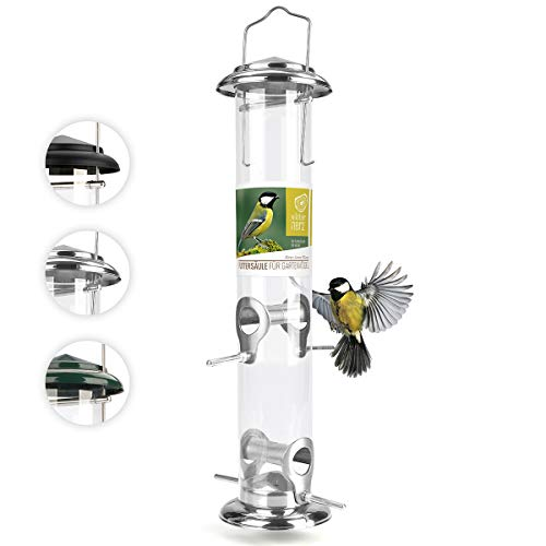 wildtier herz I Körner Vogelfutterspender 38cm - aus rostfreiem Edelstahl, Vogel Futterstation, Futtersäule, Wildvögel Futtersilo, ganzjährige Fütterung,...