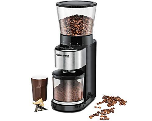 ROMMELSBACHER Kaffeemühle EKM 500 - Kegelmahlwerk, Präzisions-Waage, Halterung für Siebträger, Mahlgrad in 39 Stufen, 5 Funktionstasten für individuelle...