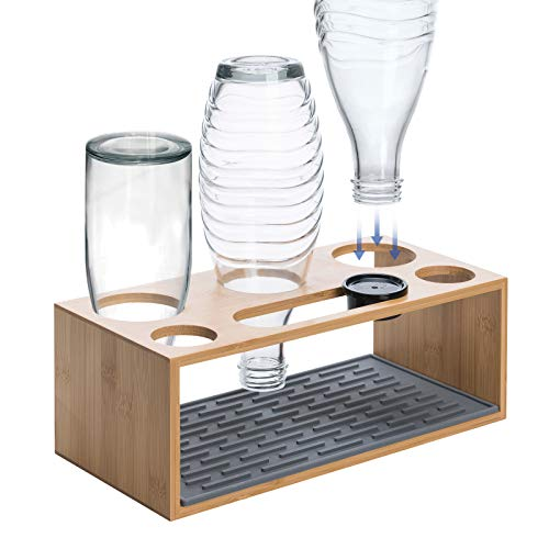 Wemk Flaschenhalter, Glasflaschen Halter mit Silikon Abtropfmatte und Deckelhalter, Bambus Abtropfständer für 3 er Flaschen - Geeignet für Eine Vielzahl von...