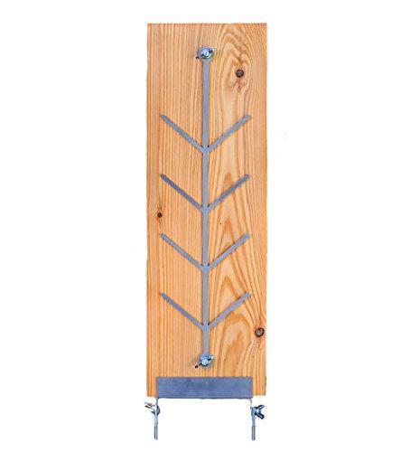 Flammlachsbrettl - Flammlachsbrett aus langlebigem Lärchenholz mit Edelstahlhalterung - ca. 500 x 175 x 20 mm Flammlachsbrett zum Grillen ist kompatibel mit...