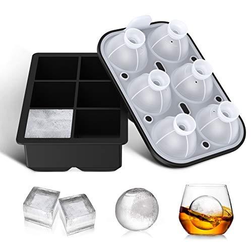 Eiswürfelform Kugelförmige Eiswürfelbehälter und Groß Cube Silikon Eiswürfelform mit Deckel FDA Zertifiziert und BPA-frei 6-Fach 2 Stück Ice Cube Tray...