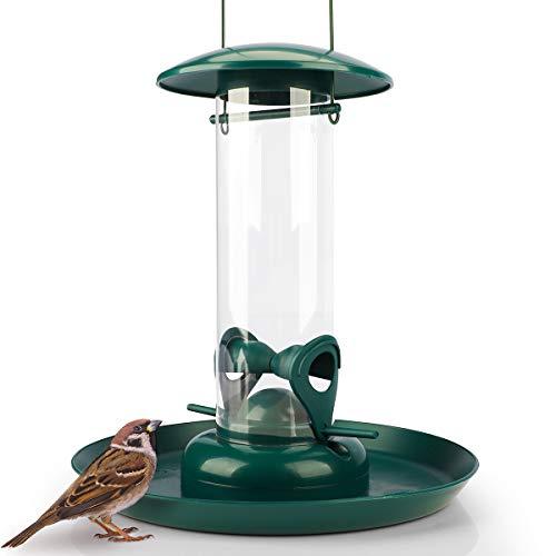 WILDLIFE FRIEND I Körner Futtersäule mit XL Futterteller, Grün - Futterschale für Vögel zum Aufhängen mit Anflugplätzen, Futterstation zur ganzjährigen...
