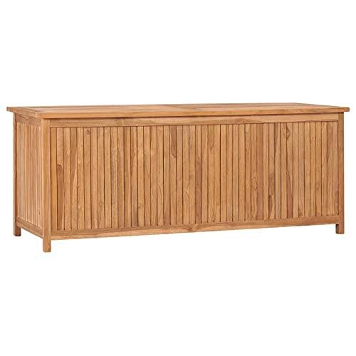 Susany Gartenbox Aufbewahrungsbox Auflagenbox Kissenbox Gartentruhe Auflagentruhe Truhe Holztruhe Bank Massivholz Teak 150x50x58 cm