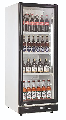 230l Getränkekühlschrank (Flaschenkühlschrank) mit Glastür. Abschließbar. Schwarz-weiß. Freistehender Getränkekühlschrank.