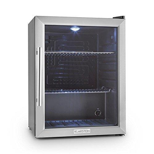 Klarstein Beersafe - Minibar, Mini-Kühlschrank, Getränkekühlschrank, leise, 42 dB, Edelstahl, Flaschenkühlschrank mit Glastür, 5-stufiger Temperaturregler,...