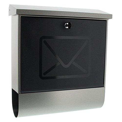 BURG-WÄCHTER Briefkasten mit integriertem Zeitungsfach und transluzenter Tür, A4 Einwurf-Format, EU Norm EN 13724, Inkl. 2 Schlüsseln, Rostfreier Edelstahl,...