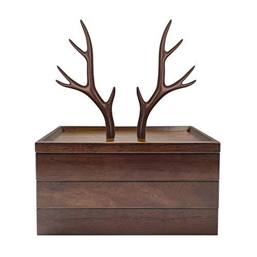 Schmuckkästchen Damen Holz Schmuck Organizer 3 Tier Schmuck Baumständer, Harz und Holz Schmuck Aufbewahrungsbox Display for Halsketten-Armband-Ohrringe und...
