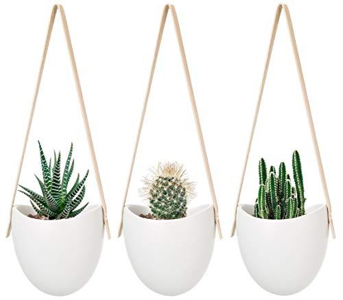 Mkouo Hängeampeln Keramik Blumentopf Hängend Wand Vase Blumenampel deko für Sukkulenten/Kaktus, Perlweiss, 3 Stück