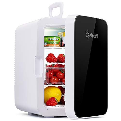 AstroAI Mini Kühlschrank, 10 Liter / 15 Dosen Fridge mit Kühl/Heizfunktion und AC/DC Stromversorgung, Tragbare Kosmetik Kühlschrank für Hautpflege,...