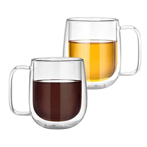 Tebery 2-teiliges 250ml Doppelwandige Cappuccino Tassen Glaser Latte Macchiato Glaser Set Thermoglas Trinkgläser Kaffeeglas