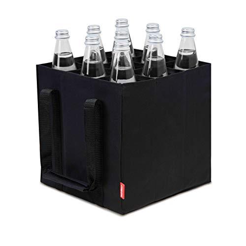 achilles 9er Bottle-Bag, Flaschentasche für 9 x 1,5 Liter Flaschen, Tragetasche mit Trennwände, 27x27x27cm, schwarz