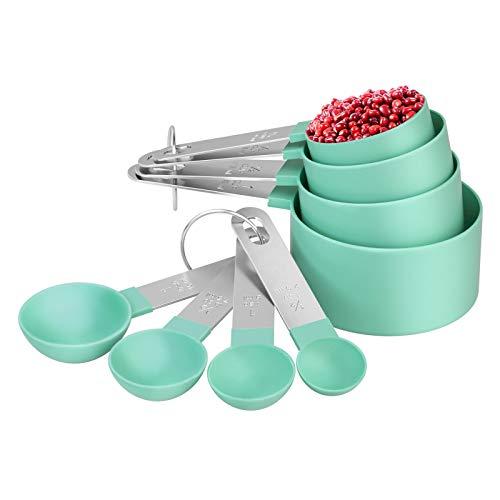 Messbecher, 8-teiliges messbecher und Löffel set, Küche Backen Messgerät Messlöffel Kochzubehör für Trockene und Flüssige Zutaten (Blaugrün)