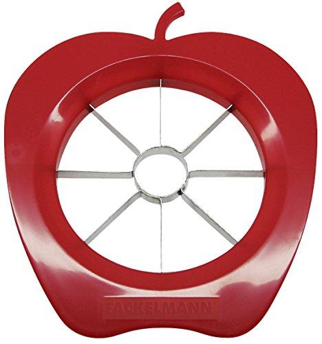 Fackelmann Apfelteiler, Apfelportionierer aus Kunststoff und Funktionsteil aus rostfreiem Edelstahl, Birnenschneider (Farbe: Rot oder Grün - nicht frei...