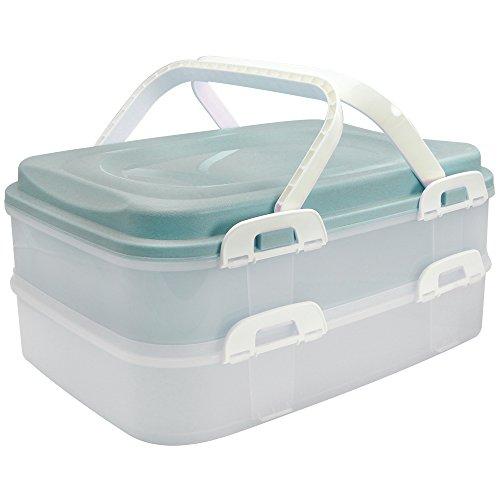 com-four® Partycontainer mit 2 Etagen und Hebeeinsatz - Kuchen Transportbox für Lebensmittel - Kuchencontainer mit Tragegriff - türkis pastell (001 Stück -...