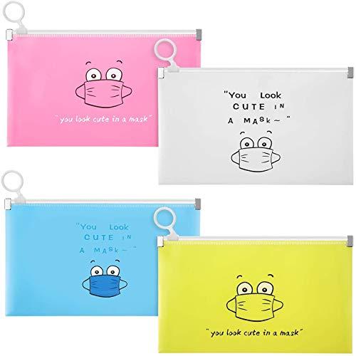Wanxida 4 Stück Maskenbox Tragbare Masken Aufbewahrungsbox Masken-Aufbewahrungstasche Maskenbox für Mundschutz