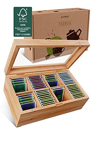 goodspot® Premium Teebox aus FSC-zertifiziertem Bambusholz mit 8 Fächern 30 x 19 x 9 cm Teekiste mit luftdichtem Magnetverschluss Tee Box mit großer...