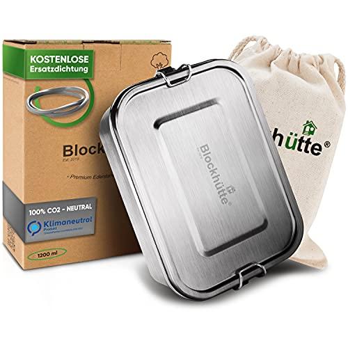 Blockhütte. Premium Edelstahl Brotdose I 1200ml I für Kinder inkl. Fächern & Ersatzdichtung. I Die Bento Box mit Trennwand ist auslaufsicher. I Brotzeitdose...