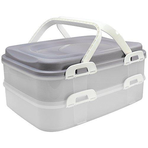 com-four® Partycontainer mit 2 Etagen und Hebeeinsatz - Kuchen Transportbox für Lebensmittel - Kuchencontainer mit Tragegriff - grau pastell (001 Stück -...