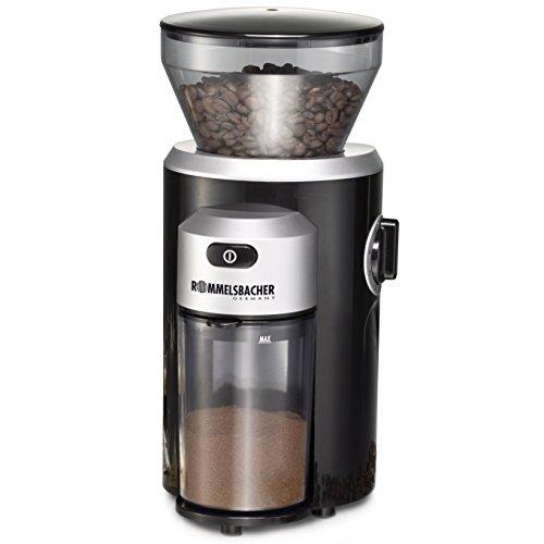 ROMMELSBACHER Kaffeemühle EKM 300 - Kegelmahlwerk aus Edelstahl, Mahlgrad in 12 Stufen, Mengendosierung bis 10 Portionen, Füllmenge Bohnenbehälter 220 g, 150...