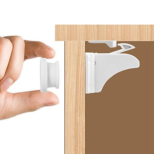 Unsichtbare Kindersicherung Schrank, Magnetisches Schrankschloss 12 Schlösser mit 2 Schlüssel, Ohne Bohren und Schrauben