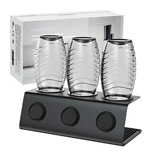 Homegoo Edelstahl Flaschenhalter kompatibel mit Sodastream Flaschen Abtropfhalter 3 er - Abtropfständer für Sodastream Crystal und Emil Flaschen,...