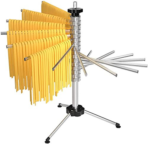 Tebery Nudeltrockner für bis zu 2,5kg Nudeln, 16 ausziehbare Sprossen, integrierter Transportierstab, faltbar - Spaghetti-Trockner, Pasta-Trockner