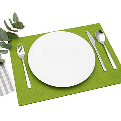 FILU Platzsets aus Filz 4er-Pack Grasgrün eckig (Farbe und Form wählbar) 30 x 41 cm – Tischset für drinnen und draußen Deko für Esstisch im Wohnzimmer,...