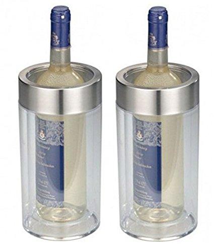 2er SET - Transparenter Flaschenkühler im eleganten Design - Doppelwandig, bruchsicher, elegant - Kunststoff Flaschen Kühler mit breitem Edelstahl - Höhe...
