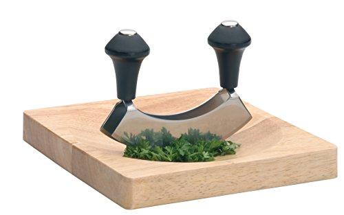 KitchenCraft Wiegemesser mit Doppelter Klinge und Holzbrett, Edelstahl/Holz, 2-teiliges Set