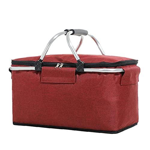 finebrand Picknick Kühlbox Isotherm-beweglicher Zusammenklappbarer Lunch Bag Large Market Basket Tasche Picknick-Korb Und Rucksack Rot