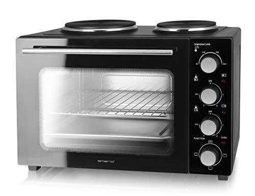 Emerio Multi Backofen mit 2 Kochplatten, 3200 Watt, Pizzaofen, Camping Küche, gleichzeitig kochen und backen, Ober-/Unterhitze, Thermostat, 90°-230°C,...