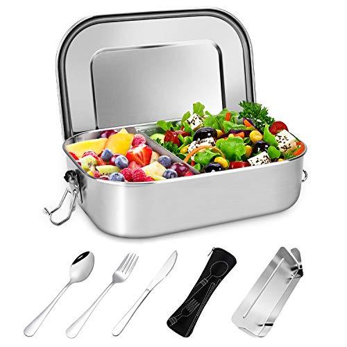 Gifort Premium Edelstahl Brotdose, Auslaufsichere Lunchbox mit Herausnehmbarer Trennwand Abtrennung, Besteck und Bestecktasche, BPA- & Plastikfreie, Bento Box...