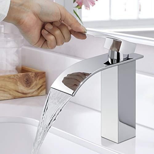 WOOHSE Wasserfall Wasserhahn Bad, Einhand-Waschtischbatterie, Waschtischarmatur, Mischbatterie Armatur, Waschtischmischer, Messing Verchromt Wasserhähne,...
