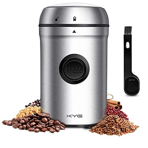 KYG Kaffeemühle 200W Elektrische Propellermühlen mit 25000 U/min Leistungsstarker Motor 80g Kapazität Sicherheitsschloss mit 304 Edelstahlklingen, für...