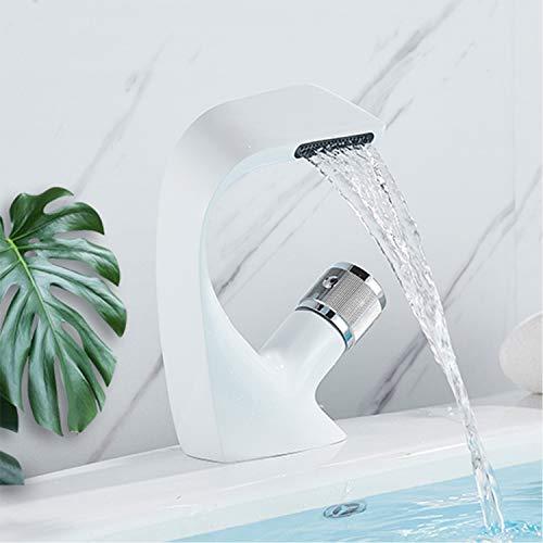 Rozin Bad Wasserhahn Wasserfall Weiß und Chrom Elegant Stil Waschtischarmatur Massivem Messing Mischbatterie Einhebel Kalt Warm Mixer Wasserhahn für...