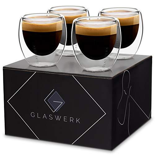 GLASWERK Design Espressotassen Set (4 x 70ml) - doppelwandig Gläser aus Borosilikatglas - spülmaschinenfestes Espresso Gläser Set - hochwertige Thermogläser