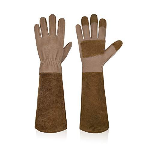 HANDLANDY Lange Gartenhandschuhe für Männer und Frauen, Schweinsleder, Rosen-Handschuhe, atmungsaktiv und langlebig, mit dornsicheren Stulpen (L, Braun)