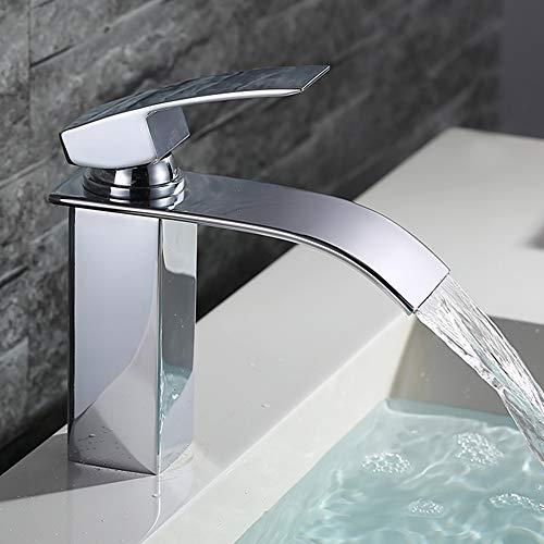HOMELODY Wasserfall Wasserhahn Bad,Wasserhahn Waschbecken für Badzimmer,Einhandmischer Spülbecken Waschtischarmaturen,Keramikventil, Kaltes und Heißes Wasser...