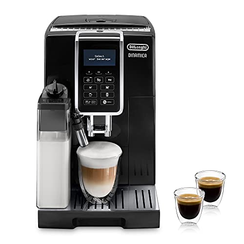 De'Longhi Dinamica ECAM 350.55.B Kaffeevollautomat mit LatteCrema Milchsystem, Cappuccino, Espresso & Kaffee auf Knopfdruck, Digitaldisplay, 2-Tassen-Funktion,...