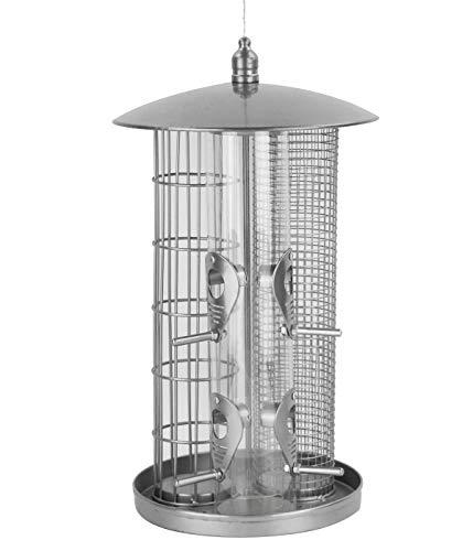 Dehner Natura Wildvogel-Futterspender Triple, Ø 22 cm, Höhe 36.5 cm, Metall, silber