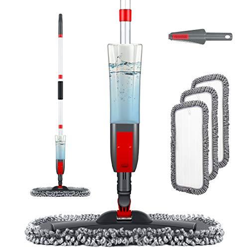 Homgif Wischmopp mit Sprühfunktion, Sprühwischer Bodenwischer mit Sprühfunktion, Home Küche Wischer Bodenreinigung Spray Mop mit 450ML Wassertank und 3...