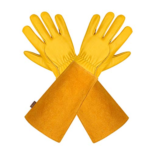 Gartenhandschuhe aus Leder für Damen und Herren – Isilila atmungsaktive Rosen-Handschuhe mit Dornschutzhandschuh, Lange Rindslederärmel,...