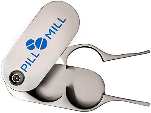 Tablettenteiler von Pill Mill - Metallklingen, die nie stumpf werden - Griff hilft, kleine oder große Pillen leicht zu schneiden -Leichte Tablettenschneider -...